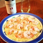 2009 Lamoreaux Landing Wine Cellars Red Oak Vineyard Riesling + shrimp and grits