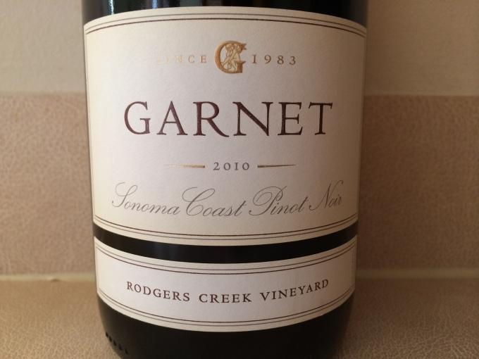 2010 Garnet Vineyards Pinot Noir, Rodgers Creek Vineyard, Sonoma Coast