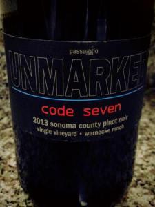 Unmarked Code Seven Warnecke Ranch Sonoma County Pinot Noir 2013