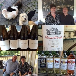 A collage of visits: Galer Estate, Penns Woods, and Va La Vineyards