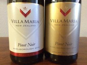 The pair of Villa Maria Pinot Noirs