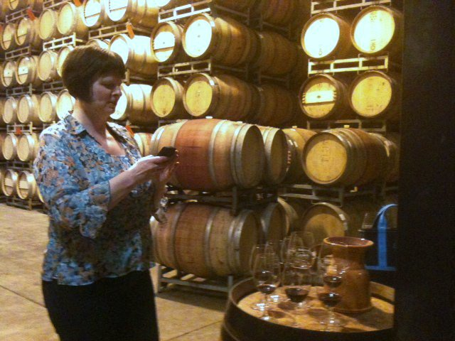 Me tasting and taking photos during one of my many trips to the Napa Valley (that's a BlackBerry, remember those?)